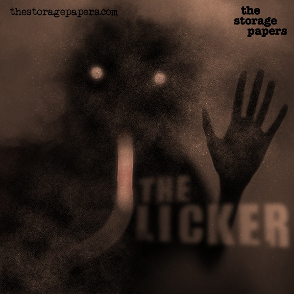 The Storage Papers horror podcast episode art for The Licker. Vague shadow of man with two round eyes. Long tongue and hand pressed up against a window.